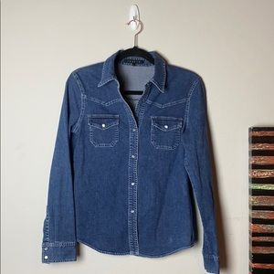 Theory Denim Long Sleeve Snap Front Top